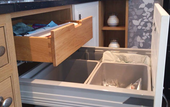 Integrated Recycling Bin with solid oak drawer above - no need for an ugly bin anymore