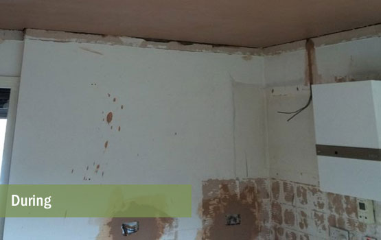 Ceiling re-skimmed and new wall sockets added